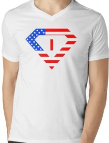 Super alphabet letter with USA flag Mens V-Neck T-Shirt