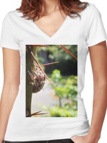 Jumping Spider on Barbados Gooseberry Women's Fitted V-Neck T-Shirt