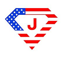 Super alphabet letter with USA flag Photographic Print