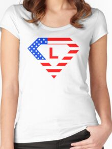 Super alphabet letter with USA flag Women's Fitted Scoop T-Shirt
