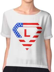Super alphabet letter with USA flag Chiffon Top
