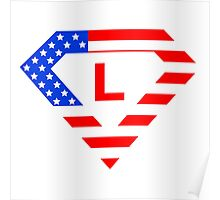 Super alphabet letter with USA flag Poster