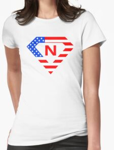 Super alphabet letter with USA flag Womens Fitted T-Shirt