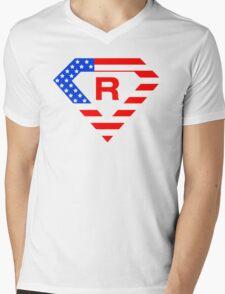 Super alphabet letter with USA flag Mens V-Neck T-Shirt