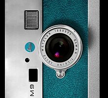 Vintage Classic retro Blue teal leather silver leica m9 camera by Johnny Sunardi