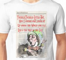 Dictionary Art Type Print - Alice in Wonderland / Mad Hatter  Unisex T-Shirt