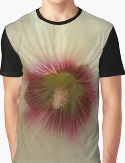White and Red Hollyhock Graphic T-Shirt