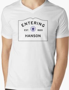 Entering Hanson - Commonwealth of Massachusetts Road Sign Mens V-Neck T-Shirt