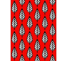 Beech Leaf Pattern, Red, Black and Gray Photographic Print