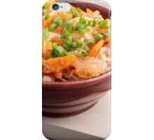 Asian food of rice noodles in a small brown wooden bowl iPhone Case/Skin