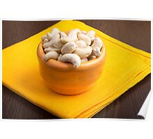 Selective focus on raw cashew nuts closeup Poster