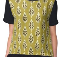 Beech Leaf Pattern, Mustard Gold and Brown Chiffon Top