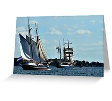 Sailing up the fjord Greeting Card