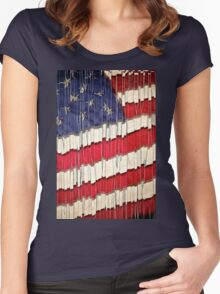 Abstract American Flag  Women's Fitted Scoop T-Shirt