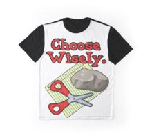 Funny Choose Wisely Rock Paper Scissors Humor T-Shirt Graphic T-Shirt