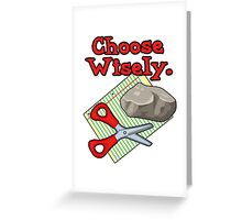 Funny Choose Wisely Rock Paper Scissors Humor T-Shirt Greeting Card