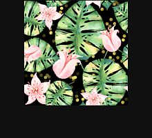 Tropical Monstera and pink tulip pattern Womens Fitted T-Shirt