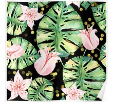 Tropical Monstera and pink tulip pattern Poster
