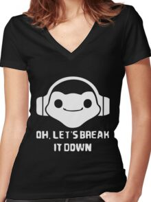 let is break it down - lucio game Women's Fitted V-Neck T-Shirt