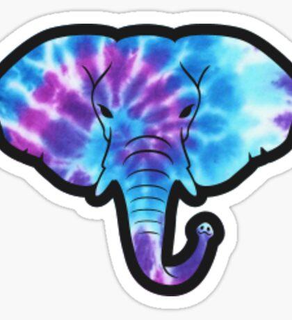 Blue Tie Dye Elephant Sticker