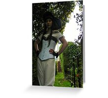 Blue Lace Corset  Greeting Card