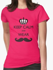 Funny Keep Calm and Wear Mustaches Womens Fitted T-Shirt