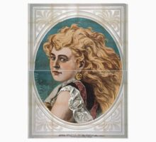 Performing Arts Posters Bust view of woman with long blond free flowing hair wearing lace 1825 One Piece - Short Sleeve