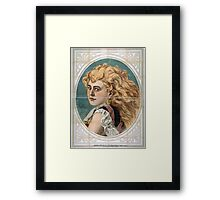 Performing Arts Posters Bust view of woman with long blond free flowing hair wearing lace 1825 Framed Print