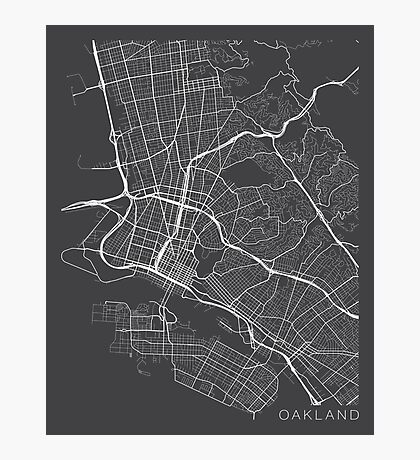 Oakland Map, USA - Gray Photographic Print