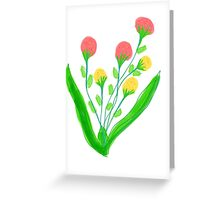 Pinky Red and Yellow Blooms Greeting Card