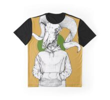 Ram Skull with Hoodie Graphic T-Shirt