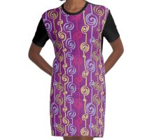 Curly-Q, Colorful pattern Graphic T-Shirt Dress