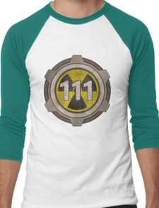 Radioactive fallout bunker shelter (7 in binary) Men's Baseball ¾ T-Shirt