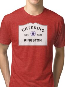 Entering Kingston - Commonwealth of Massachusetts Road Sign Tri-blend T-Shirt