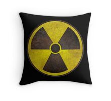 Radioactive Fallout Symbol - Scratched Throw Pillow