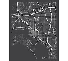 San Diego Map, USA - Gray Photographic Print