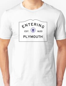 Entering Plymouth - Commonwealth of Massachusetts Road Sign Unisex T-Shirt