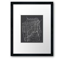 San Francisco Map, USA - Gray Framed Print