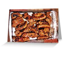 Ribs and sausage cooked to perfection Greeting Card