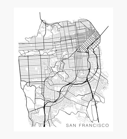 San Francisco Map, USA - Black and White Photographic Print
