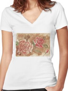 Vintage Coffee Roses Women's Fitted V-Neck T-Shirt