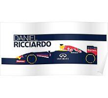 2014 Formula 1 RedBull Daniel Ricciardo Race Car Poster