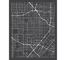 Santa Ana Map, USA - Gray Photographic Print