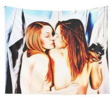 Red, black, blue, this is lesbians girlie love Wall Tapestry