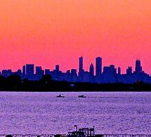 PINKY PURPLE CHICAGO SKYLINE SUNSET by gottschalkphoto