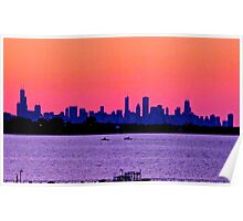 PINKY PURPLE CHICAGO SKYLINE SUNSET Poster