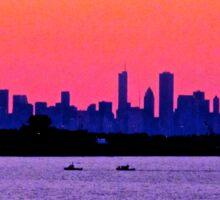 PINKY PURPLE CHICAGO SKYLINE SUNSET Sticker