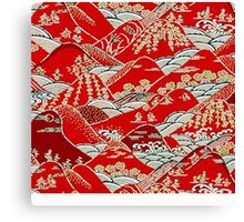 Hill side woodblock red Canvas Print
