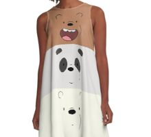 We Bare Bears Face A-Line Dress