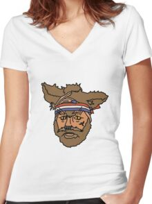 The Mighty Boosh, Crack Fox Women's Fitted V-Neck T-Shirt